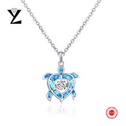 """YL 925 Sterling Silver Cubic Zirconia Dancing Diamond Blue Fire Opal Sea Turtle Pendant Necklace with White Gold Plated ,18+2""""(NP95430A)"""