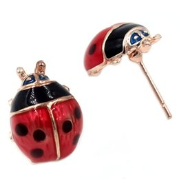 Wholesale Love Cute K Gold Plated Hot Red Oil Ladybug Stud Earrings For Women Girls boucle d oreille earings