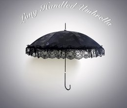 Wholesale 2016 New cotton embroidery lace umbrella white lace parasol decorated umbrella long handle princess umbrella