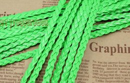 Free Ship 100Meters Neon Green Flat Braided Leather Cord String Rope, Jewelry Beading String, For Bracelet & Necklace, 5mm Wide