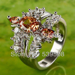Wholesale Endearing Oval Cut Morganite amp White Sapphire Silver Ring Size ring settings silver