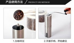 Wholesale Silver Stainless Steel Hand Manual Handmade Coffee Bean Grinder Mill Kitchen Grinding Tool g x18 cm Home