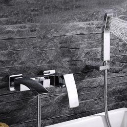 Wholesale waterfall bathtub faucet brass Hot and cold bath faucet waterfall bathroom faucets Shower Set IS158