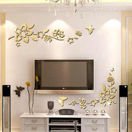 Wholesale New home decoration glass mirror doors and decorative corner stickers dimensional decorative wall stickers new European and American