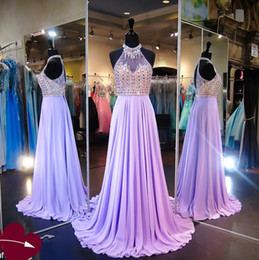 Lavender Halter Prom Dresses Sheer neck Beaded Collar A Line Chiffon Pageant Dresses Evening Wear Open Sexy Back Homecoming Dress