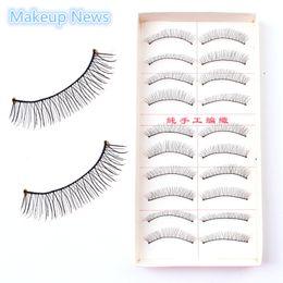Wholesale Pieces set Makeup Handmade Natural Fashion False Eyelashes gule Soft Long Eye Lash Cosmetic individual false eyelash News