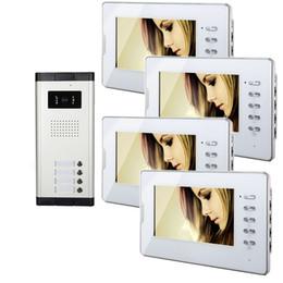 Systèmes d'interphone de portier vidéo en Ligne-Xinsilu Appartement 4 unités Wired Video Door Phone Audio Visuel Portier Système 1V4 V70D-520C-4