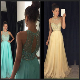 Beautiful Aqua Prom Dresses 2016 Sheer O Neckline Beaded Sequins Chiffon Long Party Prom Gowns