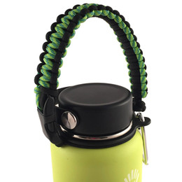 Wholesale 2016 Hydro Flask Handle Flaskars Paracord Carrier Survival Strap Cord with Safety Ring and Carabiner Fit for Hydro Flask Water Bottles