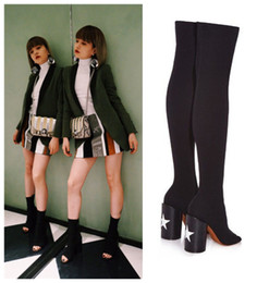 Wholesale Plus Size European Fashion Women s Over the Knee Stretch Boots Star Decor Thick Heel Peep Toe Sexy Long Boots Black