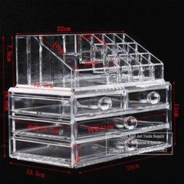 Tableau acrylique clair en Ligne-Big Makeup Organizer Cosmetics Acrylique Clear Case Insert Storage Holder Tiroirs Box affichage acrylique rack table de support