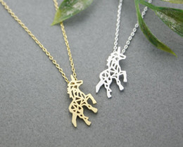Wholesale Hot sale hippie chic hollow out the horse pendant necklace Bohemian fashion women Neclaces ms thin necklace festival best gift