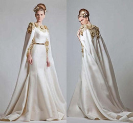 Modest Zuhair Murad 2019 Gold Appliques Satin Mermaid Dress Evening Wear With Wrap Sweep Train Saudi Arabic Evening Dresses EN6013