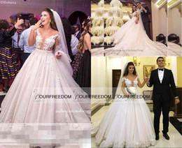 Royal Princess Italy Style A Line Wedding Dresses 2019 New Illusion Bodice 3D Flora Appliques Dubai Arabic Church Bridal Gown Custom Made