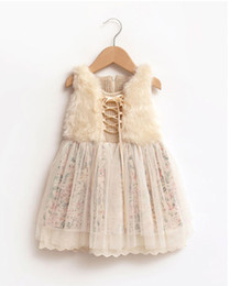 Girls winter floral tulle dress baby children fur clothing kids lace tulle clothes hot sell wedding party wear 7ES12DS86