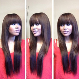 Top Quality Heat Resistant Cosplay Wig With Full Bangs Silky Straight Woman's Fashion Synthetic Hair Wigs Party Wig Natural Color Long Black