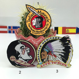 Wholesale american indian motocycle heritage embroidered patches iron on clothing Bags Jackets Jeans Clothes
