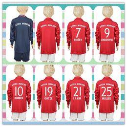 Wholesale New Product Uniforms Kit Youth Kids Soccer Jersey Bayer Munich Lewandowski Muller NEUER Dark Blue Red Long Sleeve Jerseys