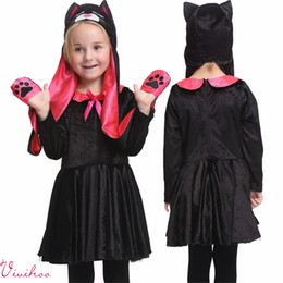 Wholesale Pretty Girl Cute Cartoon Clothing Set Baby Kids Black Velvet Dress Cat Hat Suits Halloween Kitty Cosplay High Quality Long Sleeve Costumes