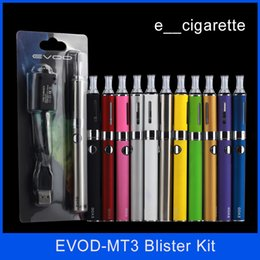 Wholesale Evod MT3 blister kit E cigarette kit mt3 tanks e cigarette EVOD atomizer Clearomizer Evod battery ego cigarette kit electronic cigarettes