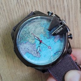 Wholesale DZ luxury brand men watches fashion sports quartz mens watch military big dial with world map cloth leather strap