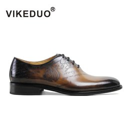 Wholesale VIKEDUO Vintage Retro mens oxford shoes Formal Dress hand printing wedding party awesome shoes Genuine leather flat To Berluti