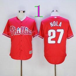 Wholesale Hot Sale Aaron Nola Jersey Flexbase Baseball Philadelphia Phillies Jerseys Cool Base Stitched Best Quality White Pinstripe Grey Red
