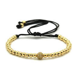 Brand Wholesale 4mm Real Gold, Rose Gold, Platinum &Black Round Beads with Clear Zircons CZ Beads Braiding Macrame Bracelet