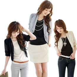 Shipping 2016 Casual Korean Stylish Womens Ladies Fashionable Slim Fit 3 4 Sleeve Chiffon Sheer Shrug Cardigan Tops Bolero