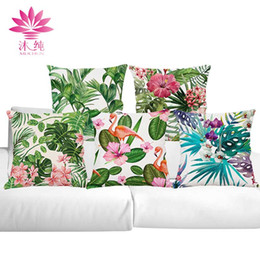 muchun Brand Tropical Plants Halloween Cotton&Linen Sofa Pillow Cover 45*45 cm Christmas Throw Thicken Home Party Decorative Pillow Case
