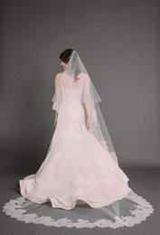 New Amazing For Wedding Dresses mantilla veil chape White Ivory applique Lace Edge Cathedral Bridal Veil With Comb