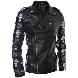 Fall-2016 Autumn Winter Fashion PU Leather Jacket Men's Oblique Zipper Design Sleeve Skull Printing Men Outdoor Motorcycle Jacket
