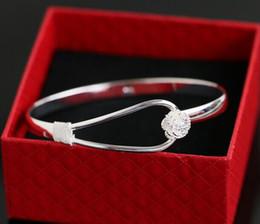 Bracelets 925 sterling silver rose flower cuff bracelet fashion bangle for women jewelry bangles Min Order 30pcs Free Shipping