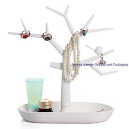 Three Color Choice Retail Plastic Mini Size Creative Tree Jewelry Rack Necklace Bracelet Stand Organizer Holder Display