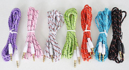 3.5mm Audio AUX Cable Braided Woven Fabric wire Auxiliary durable Cords Jack Male to Male M  M 1m 3ft Lead