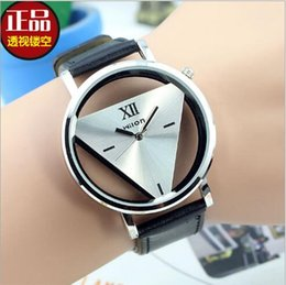 Wholesale Contracted popular logo retro harajuku triangle watch personality double sided hollow out the Korean fashion lovers with tables