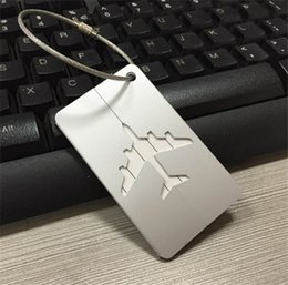Wholesale Aluminum Luggage Tag Travel Boarding Aircraft Plane Shape Suitcase Tag Label Name Address Holder Hangtag Travel Kit many colors