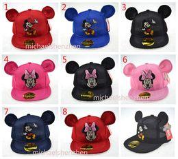 Children Mickey Minne ear Hat Cap 8 color NEW Boys girls Ball caps Cartoon paillette Mesh baseball hockey mesh Hat B001