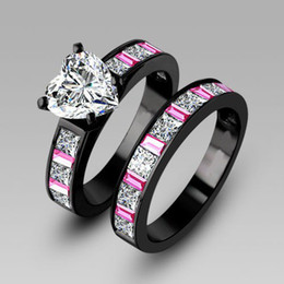 Classic Victoria Wieck Luxury Jewelry Pink sapphire Diamonique cz Diamond 10KT Black Gold Filled 2 Wedding Women Ring Set Size 5-11