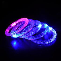 Wholesale 2016 Led Halloween Light Up Bracelets Activated Glow Flash Bangle Beautiful Cool Ramdon Acrylic Light Flashing Led Hand Ring Wedding