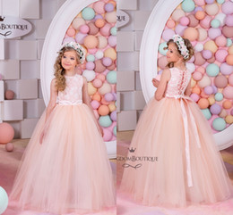 Wholesale Arabic Blush Flower Girl Dresses Lace Tulle Baby Girl Birthday Party Christmas Communion Dresses Children Girl Party Dresses