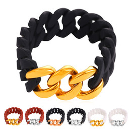 U7 Flexible Silicone Chain Bracelet 18K Real Gold Plated Stainless Steel Fashion Women Men Jewelry Perfect Party Gift Bracelets (6 Colors)