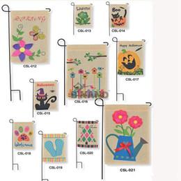 Wholesale DHL Fedex Free Burlap Garden Flags quot Wx18 quot H DIY Jute Liene Yard House Decorative Hanging Flag Courtyard Printed Ads Flags L51 M