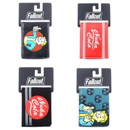 Wholesale fallout wallet nuka cola bifold wallet Bethesda vault boy appliqué with embossing Bi Fold wallet costume accessory with tags fallout wallet