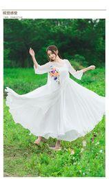 Real folk style high-grade 8 meters large swing sling chiffon dress skirt dress primer
