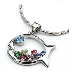 2016 New Fashion Hot Selling Color Hollow Fish Sweater Chain Necklace Jewelry Multicolor Rhinestone Silver Plated N543