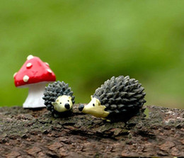 2016 new wholesale~20 Sets  resin hedgehog and mushroom miniatures lovely animals fairy garden gnome terrarium decoration crafts