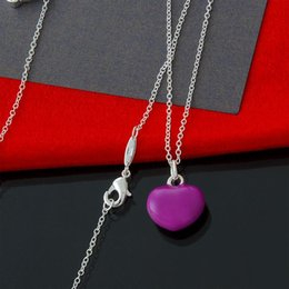 10pcs lot Factory direct wholesale 925 sterling silver fine chain Purple Heart Necklace Fashion Silver Necklace