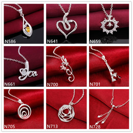 Spiral flower shape 925 silver Necklace(with chain) 10 pieces a lot mixed style,women's gemstone sterling silver Pendant Necklace EMP10