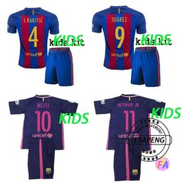Wholesale 16 top quality Barcelona soccer jersey Home Away MESSI ARDA A INIESTA Soares I RAKITIC kids football shirt suits